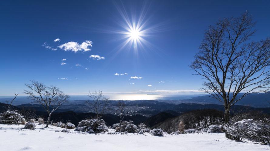 年末の鍋割山山頂の雪景色
