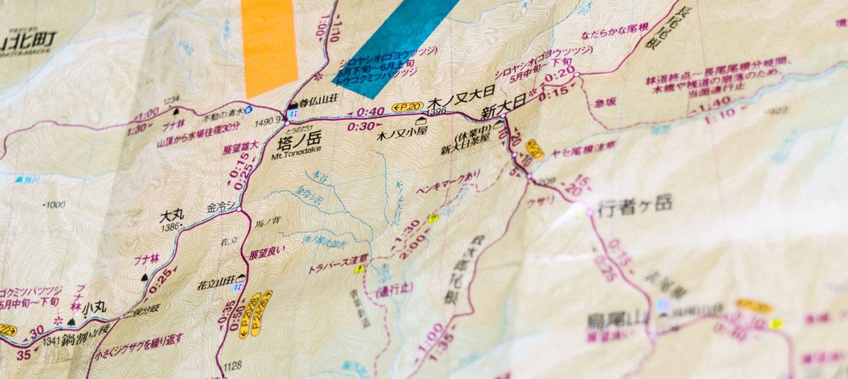 塔ノ岳・地図