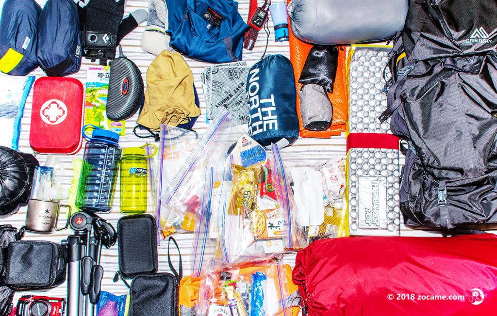 初めてのテント泊登山!練習でパッキングした持ちものを全部出してみた